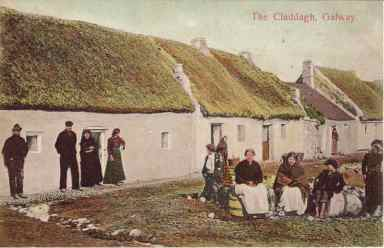 Historical photo of the fishing village of Claddagh
